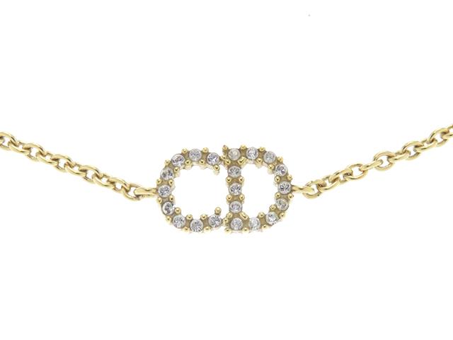 Dior ディオール ロゴ ブレスレット ラインストーン GP【430】2143200381659