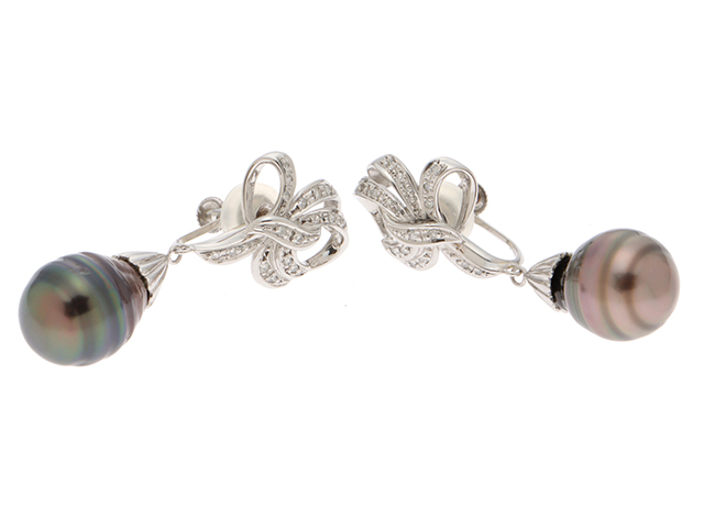Jewelry ジュエリー イヤリング 貴金属 宝石 プラチナ PT900 ブラックパール ダイヤモンド0.11ct ダイヤモンド0.11ct 15.3g 【432】