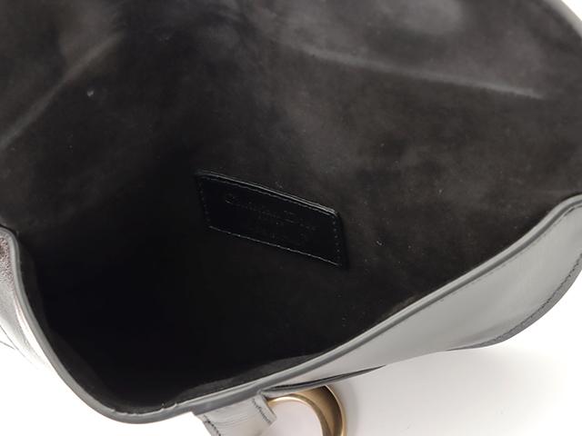 Dior ディオール サドルフラットベルトポーチ ウエストポーチ ブラック GP カーフ【471】
