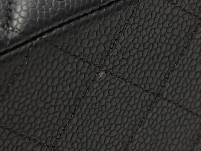 CHANEL シャネル マトラッセWフラップチェーンショルダーバッグ ブラック ゴールド金具 キャビアスキン 【472】 JH image number 6