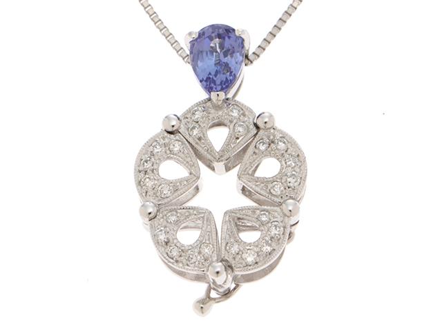 ノンブランド ジュエリー K18WG ホワイトゴールド ネックレス ダイヤモンド0.20ct サファイア0.96ct 6.8g【413】