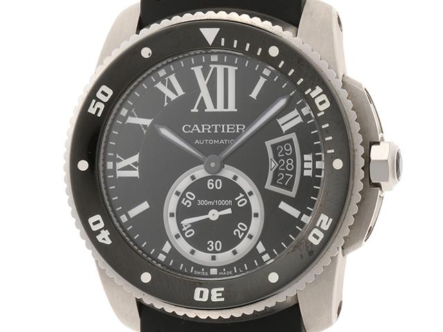 Cartier カルティエ 時計 カリブルダイバー W7100056 ブラック ステンレススチール/ラバーストラップ メンズ 自動巻き (2146000200076)【200】