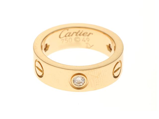 Cartier カルティエ ラブ イエローゴールド ハーフ ダイヤモンド リング YG D 8.5g 49号 修理明細書付き【430】2147200351759