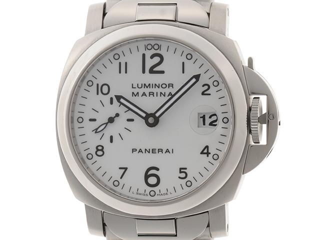 PANERAI パネライ 時計 ルミノールマリーナ PAM00051 G番 ホワイト文字盤 デイト表示 ステンレス.【200】