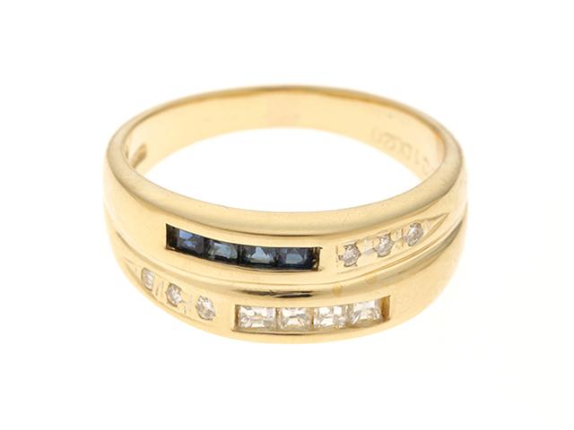 JEWELRY  ノーブランドジュエリー リング K18YG イエローゴールド ダイヤモンド0.20ct サファイア0.21ct 12号 【430】