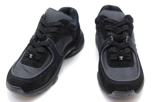 CHANEL シャネル スニーカー レディース37 約23.5cm ブラック ファブリック ココマーク G33745 【200】