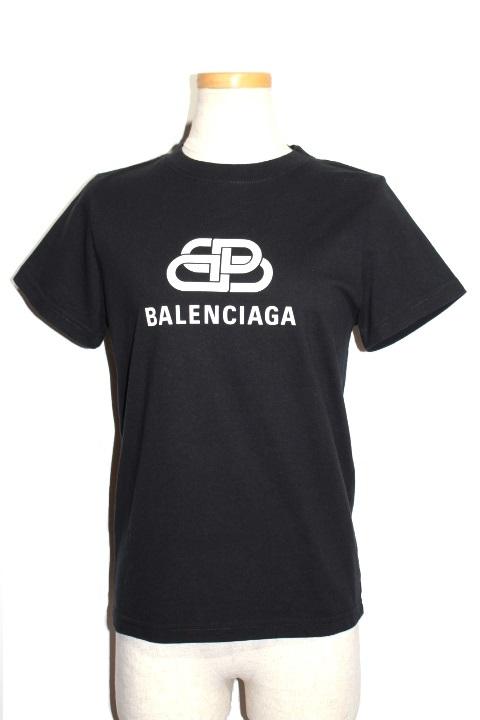 BALENCIAGA バレンシアガ Tシャツ レディースS ブラック コットン BB バレンシアガロゴ TS02583245 TEV48 1000