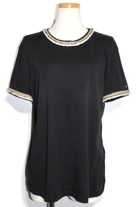 CHANEL シャネル トップス Tシャツ P56888V36272 レディース42 ブラック コットン 定価¥146,000-抜【200】
