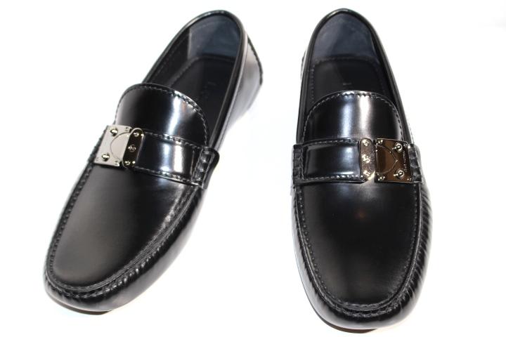 LOUIS VUITTON ルイヴィトン 革靴 モカシンローファー メンズ7 約26cm ブラック レザー シルバー金具【200】