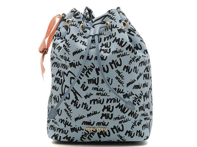 miu miu ミュウミュウ 巾着ポーチ ライトブルー/ブラック キャンバス/カーフ 【430】 2148103200854