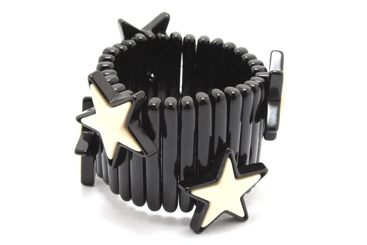 miu miu ミュウミュウ ブレスレット バングル 星 スター プラスチック ブラック/ホワイト 【460】 image number 1