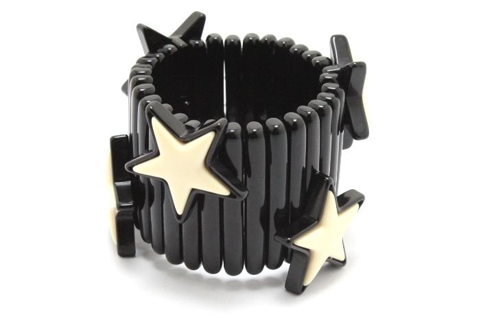 miu miu ミュウミュウ ブレスレット バングル 星 スター プラスチック ブラック/ホワイト 【460】 image number 2
