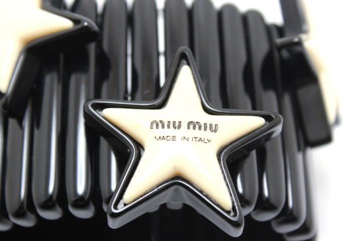miu miu ミュウミュウ ブレスレット バングル 星 スター プラスチック ブラック/ホワイト 【460】 image number 4