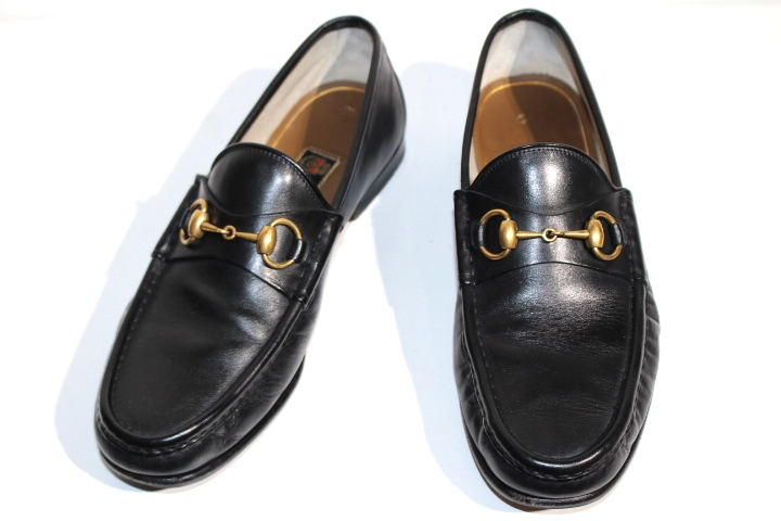 GUCCI グッチ 革靴 ビットローファー メンズ7ハーフ 約26.5cm ブラック レザー【200】