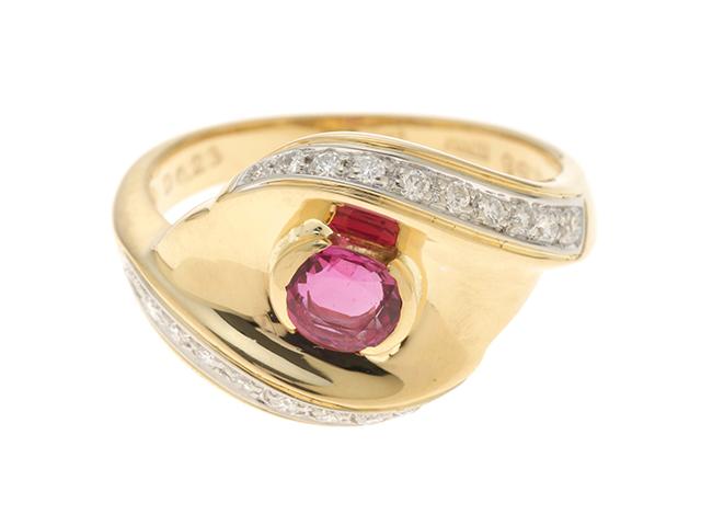 JEWELRY ノンブランドジュエリー デザイン リング 指輪 K18 ゴールド ルビー 0.58ct ダイヤモンド 0.23ct 13号 ソーティング付き 【460】 image number 0