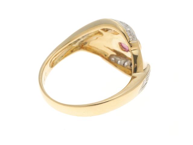 JEWELRY ノンブランドジュエリー デザイン リング 指輪 K18 ゴールド ルビー 0.58ct ダイヤモンド 0.23ct 13号 ソーティング付き 【460】 image number 1