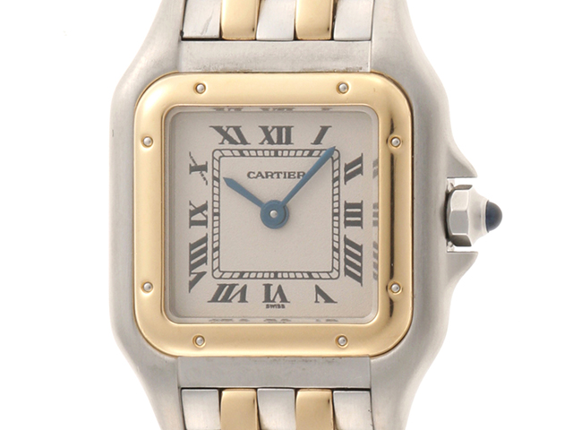 Cartier カルティエ パンテールSM 2ロウ W25029B6 YG/SS アイボリー文字盤 レディース クオーツ 【436】