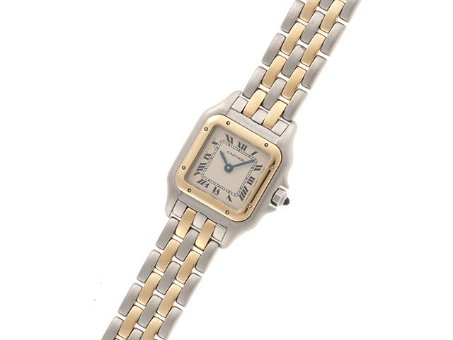 Cartier 時計 カルティエ  パンテールSM W25029B6 クオーツ アイボリー文字盤 YG/SS 女性用時計【430】 image number 1