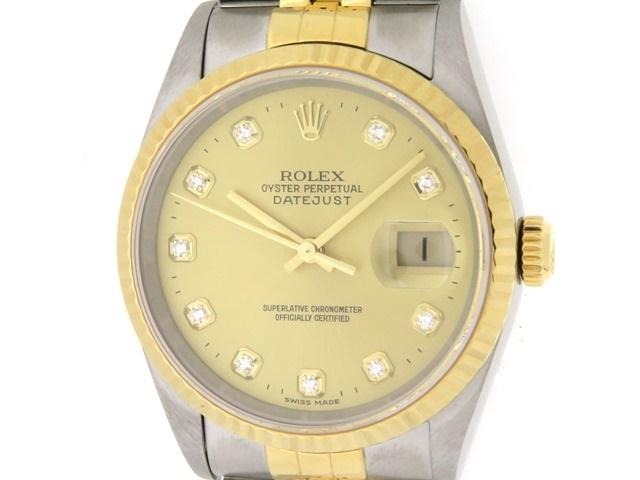 P番 ROLEX ロレックス デイトジャスト 男性用腕時計 オートマチック SS ステンレス YG イエローゴールド コンビ シャンパンゴールド 10ポイントダイヤモンド 16233G 【474】