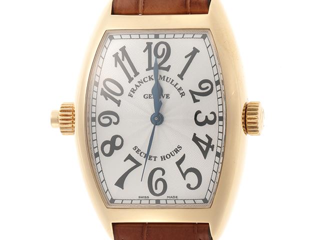 フランクミュラー FRANCK MULLER 時計 トノーカーベックス シークレットアワーズ 7880SEHI 自動巻き イエローゴールド×革ベルト NS【472】