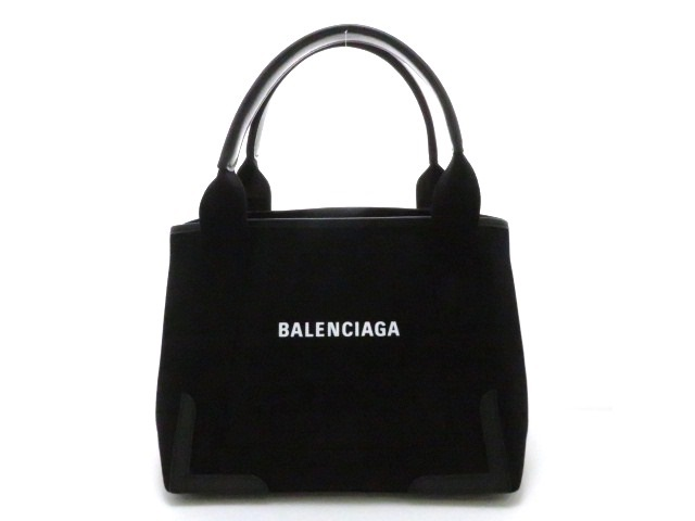 BALENCIAGA バレンシアガ ネイビーカバS ハンドバッグ キャンバス/カーフ ブラック【473】