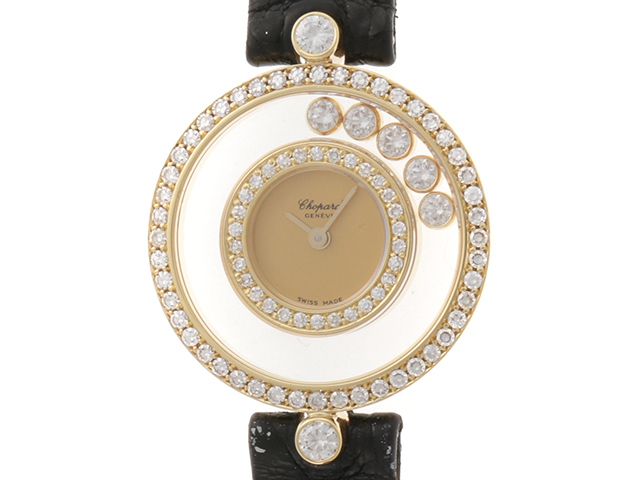 Chopard ショパール 時計 ハッピーダイヤモンド 20/3957 クオーツ ダイヤベゼル YG/革 女性用時計【431】
