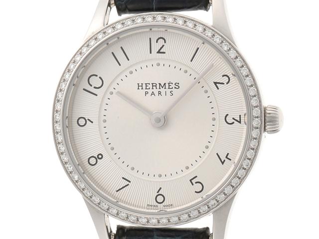 HERMES エルメス 時計 スリムドゥエルメス・ダイヤベゼル  CA2.130 シルバー文字盤 クオーツ レディース ステンレス/ダイヤモンド/アリゲーター【430】2148103260445