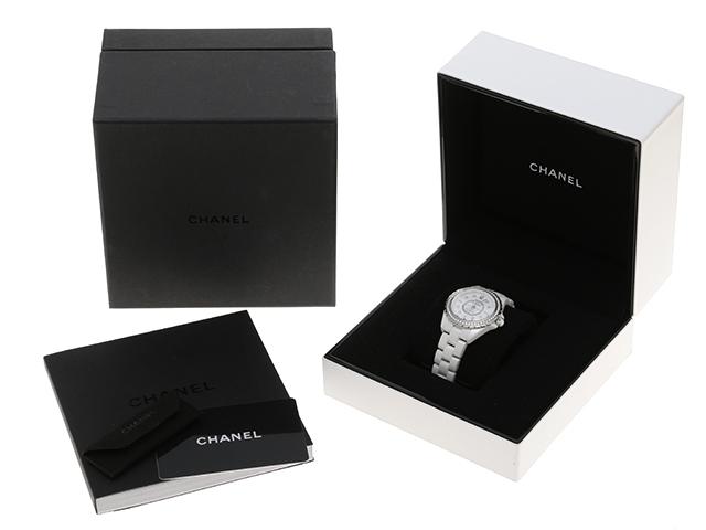 CHANEL シャネル J12 H3110 シェル文字盤 レディース オートマチック ダイヤモンドベゼル 8ポイントダイヤモンド セラミック
