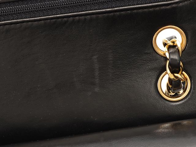 CHANEL シャネル マトラッセWフラップチェーンショルダーバッグ ブラック ゴールド金具 ラムスキン 【472】 JH image number 5