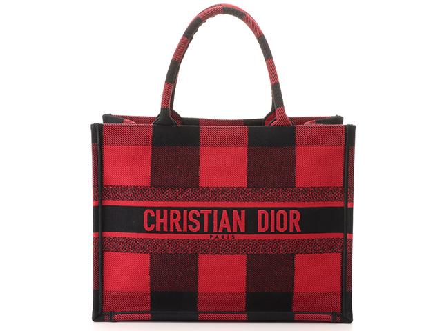 Dior ディオール ブックトート スモール 50-MA-0169 チェック柄 レッド/ブラック 国内正規品 【460】