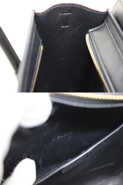 CELINE セリーヌ バッグ ラゲージ ナノショッパー ハンドバッグ ショルダーバッグ トリコロール ベージュ レッド ブラック レザー 168243 【200】 image number 2