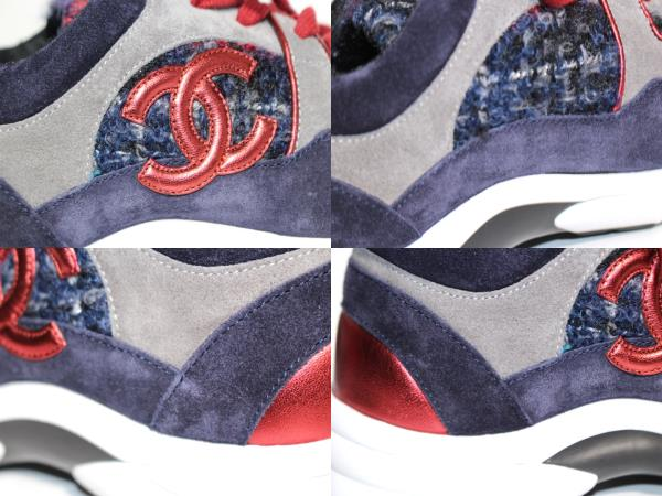 CHANEL シャネル スニーカー レディース38 約24cm ネイビー レッド ファブリック スエード G34052 【200】 image number 6