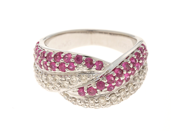 JEWELRY ノンブランドジュエリー リング 指輪 K18ホワイトゴールド ダイヤモンド ルビー 11号 【474】