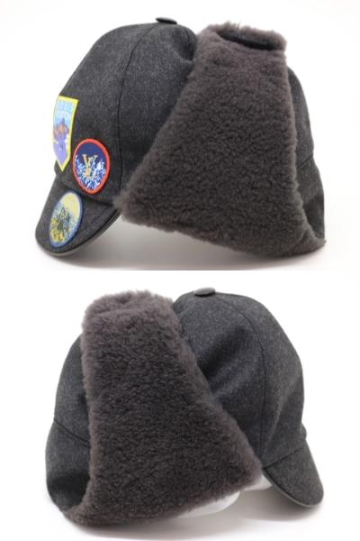 LOUIS VUITTON ルイヴィトン 帽子 キャスケット・ファーアルプス グレー ウール カシミヤ 牛革 2018年 【200】 image number 2