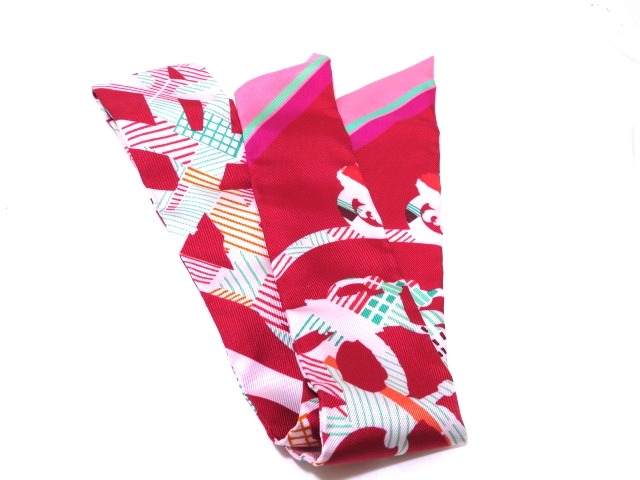 HERMES 衣料品 トゥイリー スカーフ トゥイリー アカ/ピンク【430】