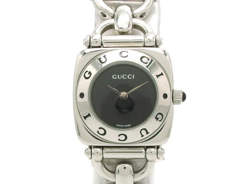 GUCCI グッチ 時計 ホースビット 6400L クオーツ ステンレス 黒文字盤 女性用 【432】