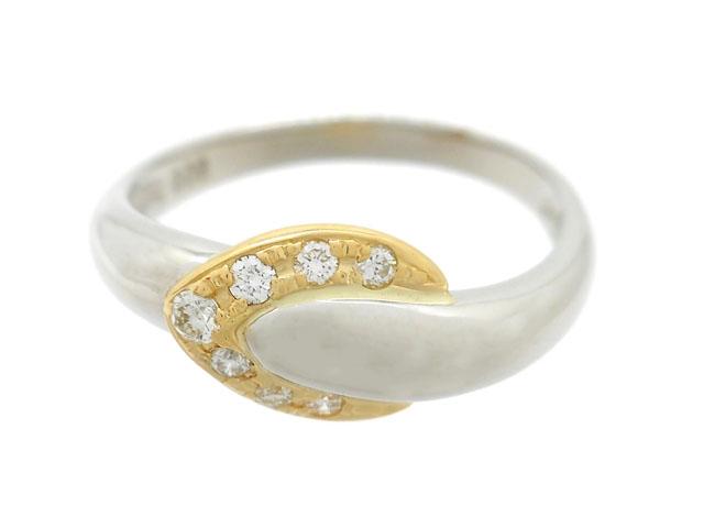 CELINE セリーヌ 指輪 ダイヤリング イエローゴールド プラチナ PT900 K18YG ダイヤモンド0.08ct D0.08ct 3.8g 10号 【200】