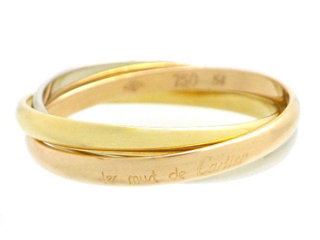 Cartier カルティエ 貴金属・宝石 リング 指輪 トリニティリング 3連 3カラー WG ホワイトゴールド YG イエローゴールド PG ピンクゴールド 4.0g 54号 日本サイズ約14号 【200】