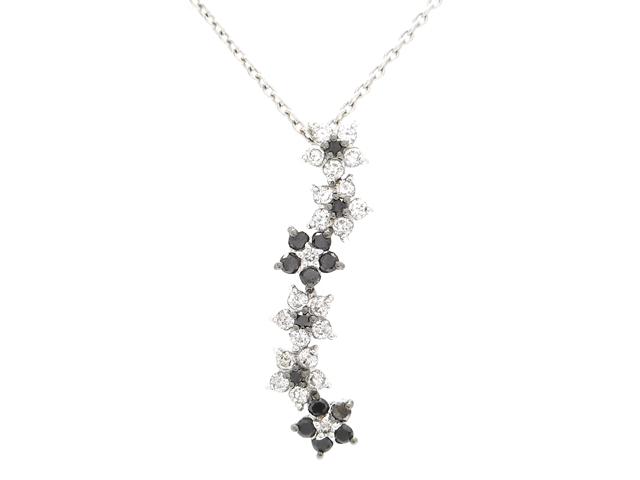 Ponte Vecchio ポンテヴェキオ 貴金属・宝石 ダイヤネックレス フラワー 花 ホワイトゴールド K18WG ダイヤモンド 0.40ct ブラックダイヤモンド 0.24ct 5.0g 【200】