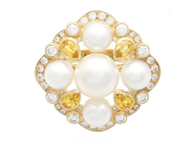 CHANEL 貴金属・宝石 デザインリング マルチリング  パール イエローサファイア ダイヤモンド 52号 日本サイズ12号 あこや真珠 13.2g 【200】