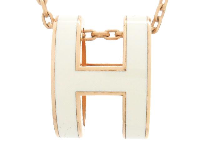 Hermes エルメス アクセサリー ネックレス ポップアッシュ アイボリー ピンクゴールドメッキ ラッカーメタル ポップH 【200】 image number 1