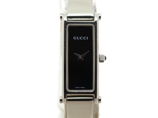 GUCCI グッチ 女性用腕時計 1500L レディース SS ステンレス ブラック バングルタイプ (2148103275999)【200】