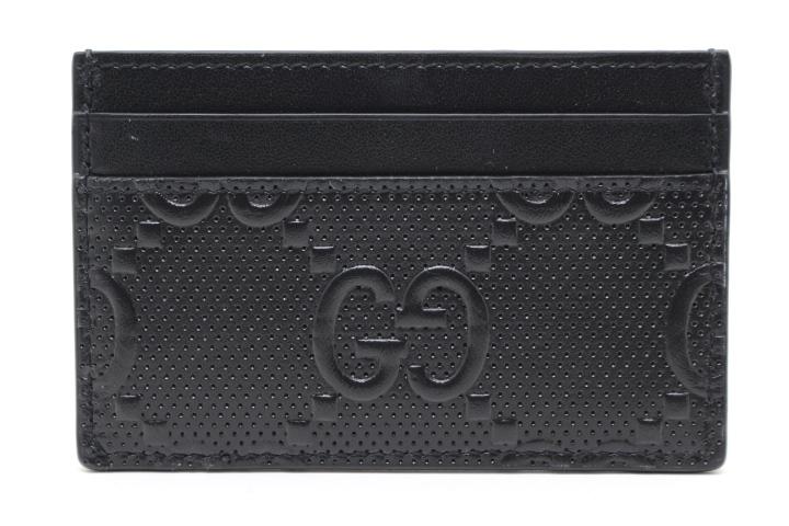 GUCCI グッチ 小物 カードケース GGエンボスカードケース レザー ブラック パンチング (2147400180784) 【200】