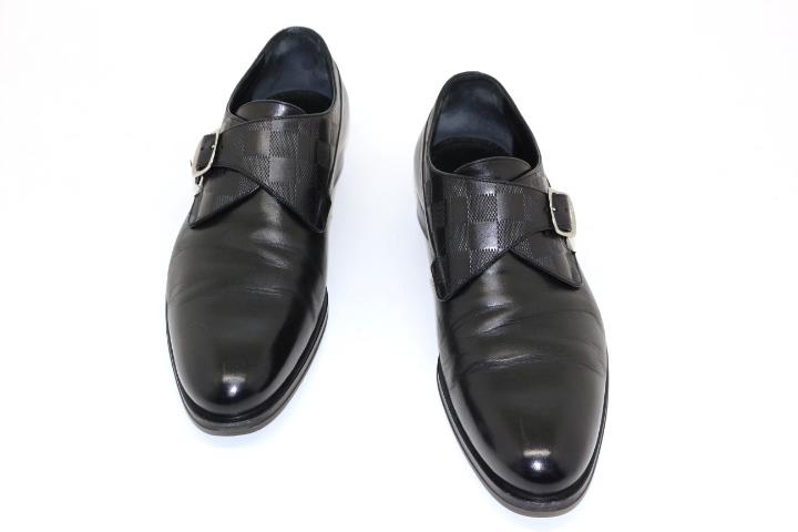 LOUIS VUITTON ルイ・ヴィトン ローファー 革靴 メンズ6 約25cm ブラック レザー ダミエ【200】