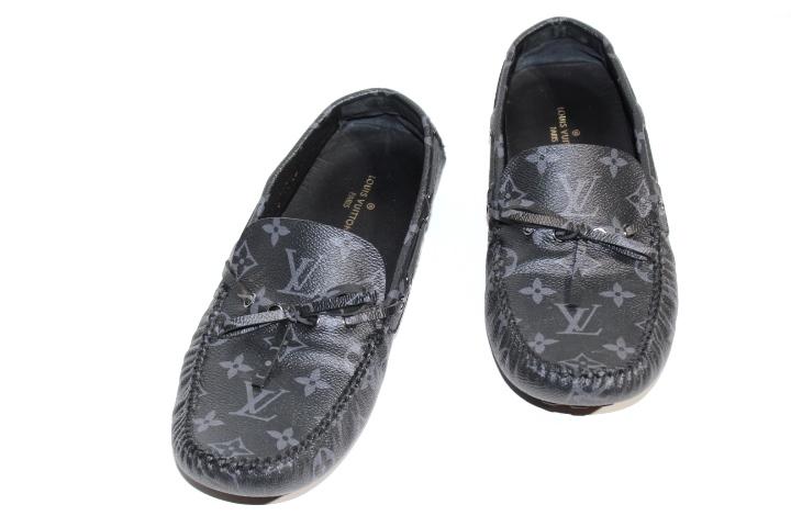 LOUIS VUITTON ルイ・ヴィトン アリゾナ・ライン ローファー ドライビングシューズ 革靴 メンズ7ハーフ 約26cm ブラック エクリプス PVC 2018年 1A441L 【200】