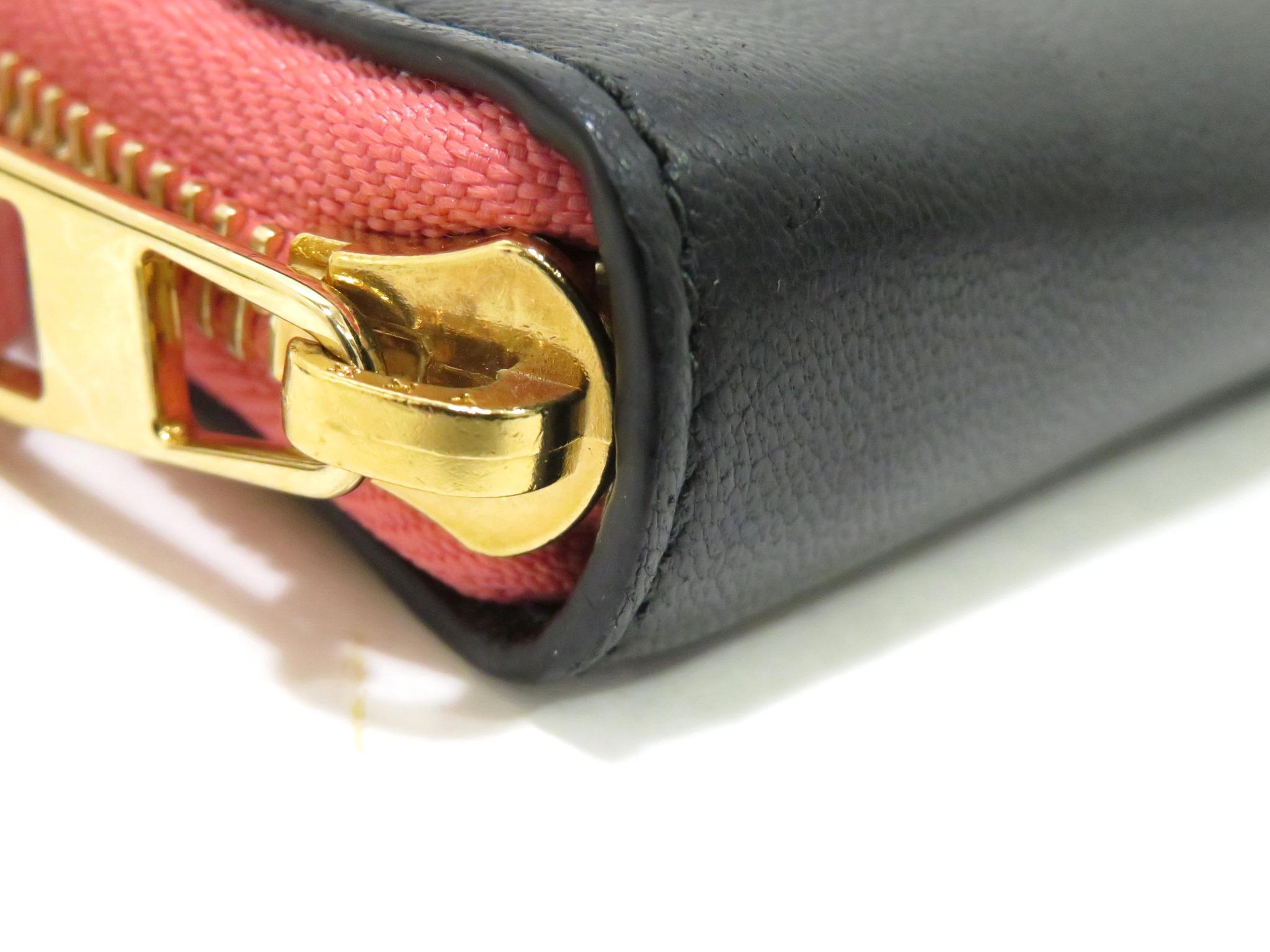 LOEWE ロエベ ジップラウンド財布 ミニ財布 ブラック×ピンク  カーフ【472】AH