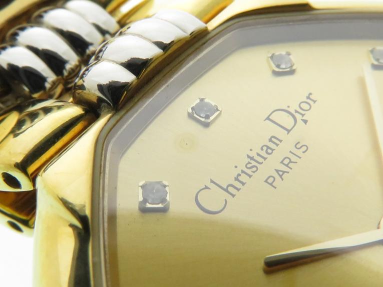 Christian Dior クリスチャンディオール デポーズ 45.134 シャンパン文字盤 GP/SS ゴールドメッキ/ステンレス クオーツ 日付表示 レディースウォッチ 時計【204】 image number 7