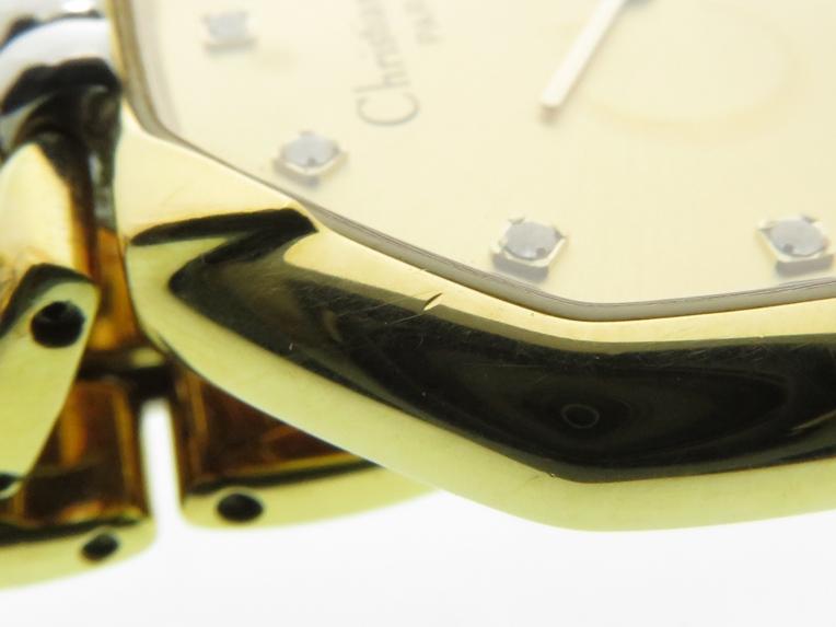 Christian Dior クリスチャンディオール デポーズ 45.134 シャンパン文字盤 GP/SS ゴールドメッキ/ステンレス クオーツ 日付表示 レディースウォッチ 時計【204】 image number 9