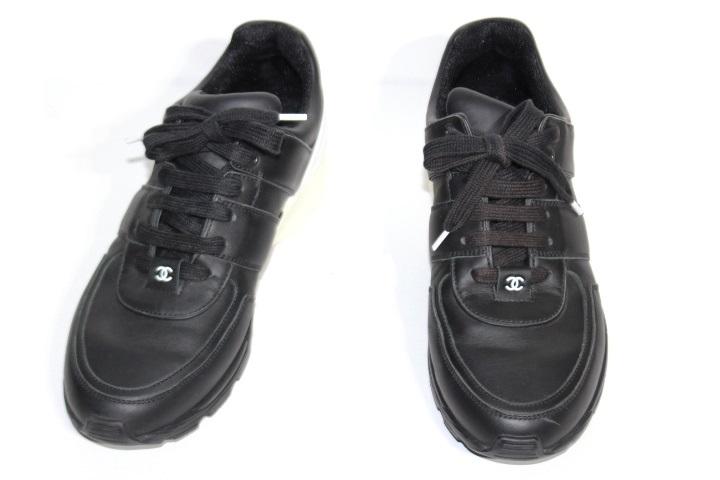 CHANEL シャネル スニーカー メンズ41 ブラック ホワイト ブラック レザー ラバー (2148103138447)【200】