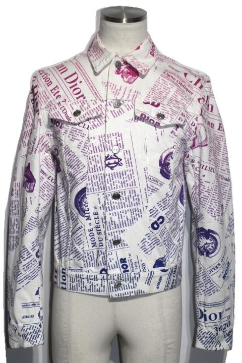 Dior  ディオール ダニエルアーシャム デニムジャケット ブルゾン 013D483BY984 メンズ44 ホワイト パープル コットン【200】